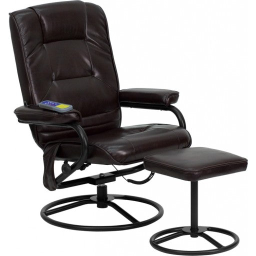 Massaging Brown Leather Recliner and Ottoman