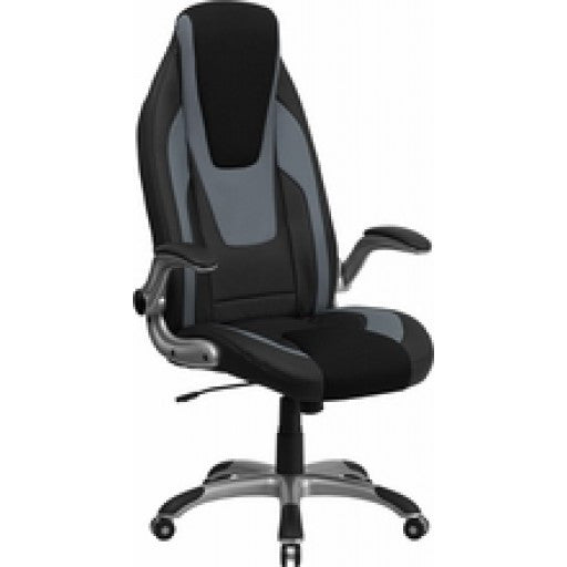 High Back Black & Gray Vinyl Executive Office Chair with Black Mesh Insets and Flip Up Arms