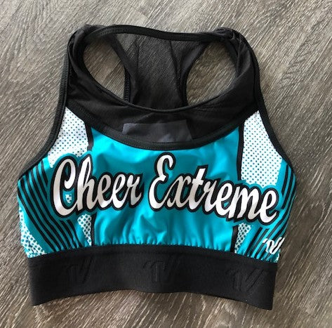 Varsity Sublimated Teal Sports Bra