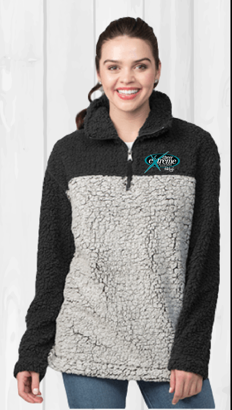 Unisex Two Tone 1/4 Zip Sherpa with left chest logo
