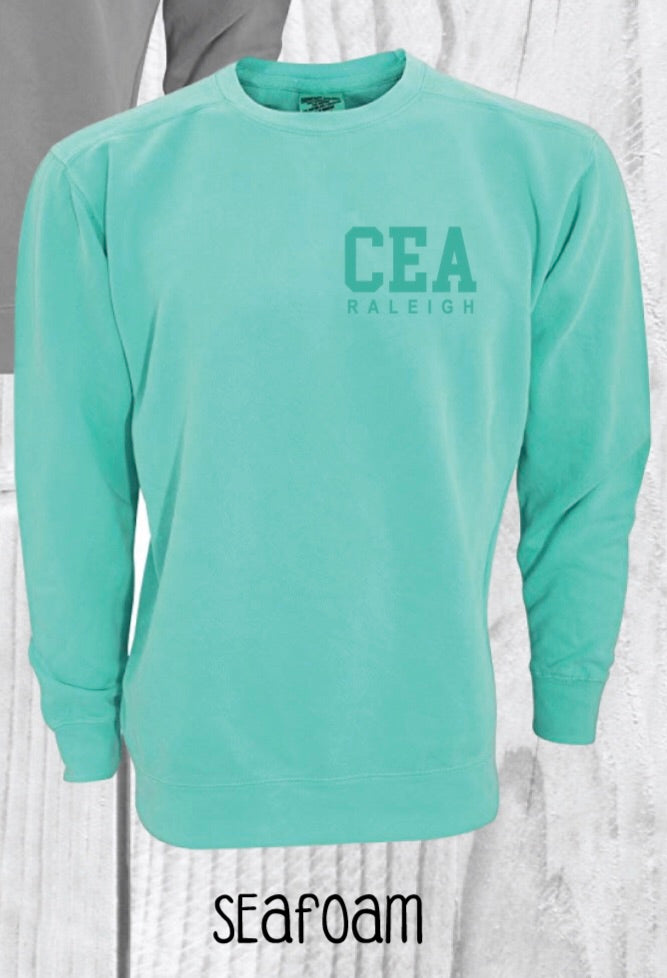 Teal Comfort Colors Crewneck w/ Tone on Tone Embroidery