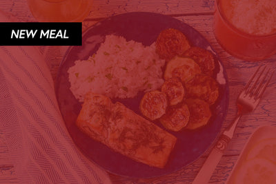 Honey Sriracha Salmon Served With A Side Of Asparagus and Brown Rice or Cauliflower Rice