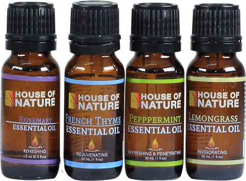100% Essential Oil Set of 4 - Lemongrass, Rosemary, Peppermint