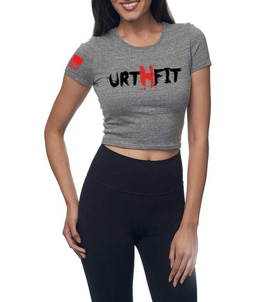 URTHFIT Logo Women's Eco Triblend Crop Tee-Grey