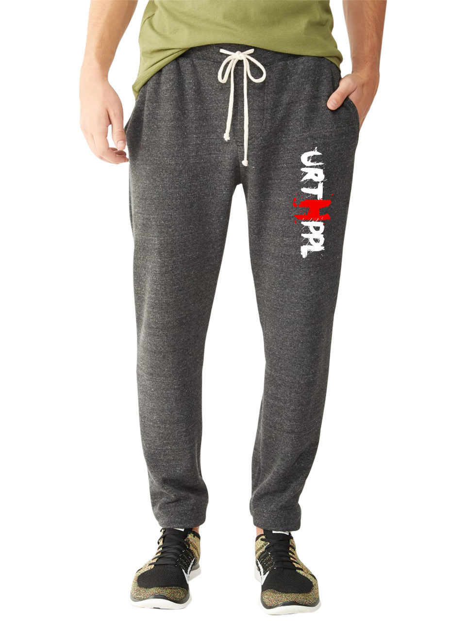 URTHPPL Logo Men's Eco-Fleece Joggers-Charcoal Black Triblend