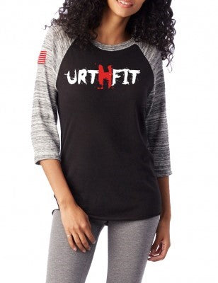 URTHFIT Logo Women's Baseball Eco-Jersey T-Shirt-Red