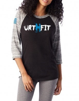 URTHFIT Logo Women's Baseball Eco-Jersey T-Shirt-Blue
