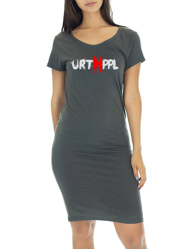 URTHPPL Logo Women's Viscose Bamboo Organic Tee Dress-Pewter