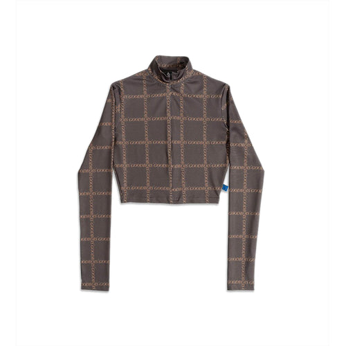 GOODBOIS CLASSIC TRADEMARK ALL OVER TURTLENECK CROP LONGSLEEVE BROWN
