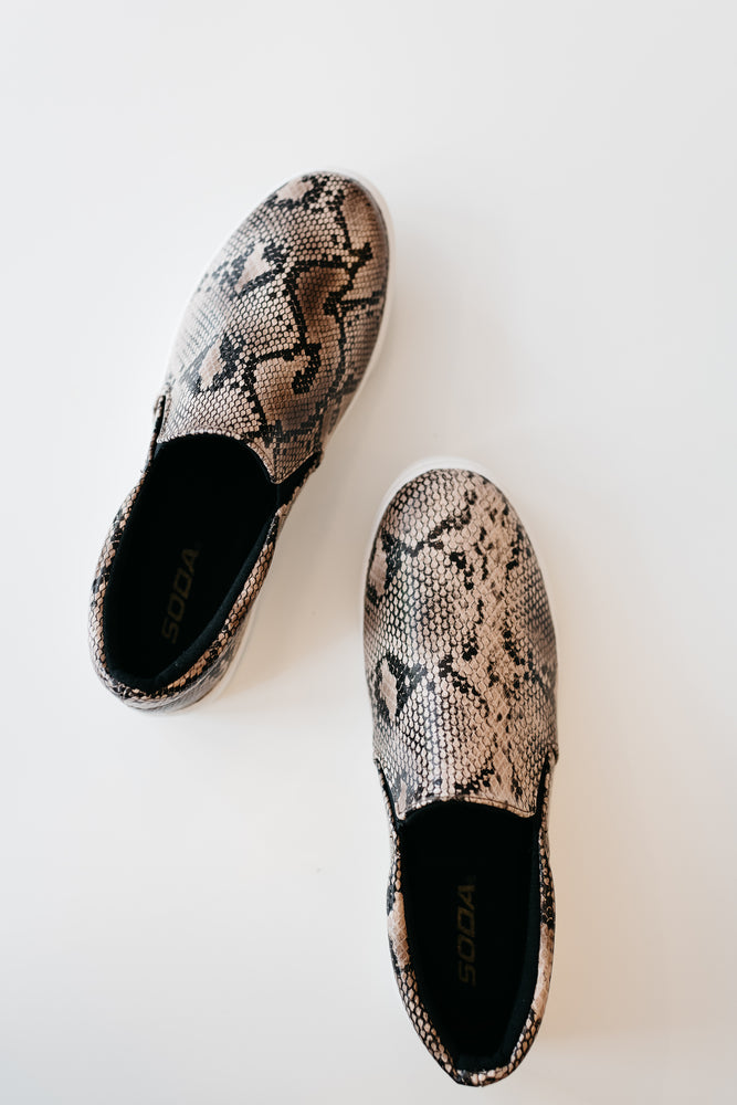Taupe Snakeskin Sneakers