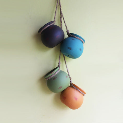Set of Four Hanging Mud Pots