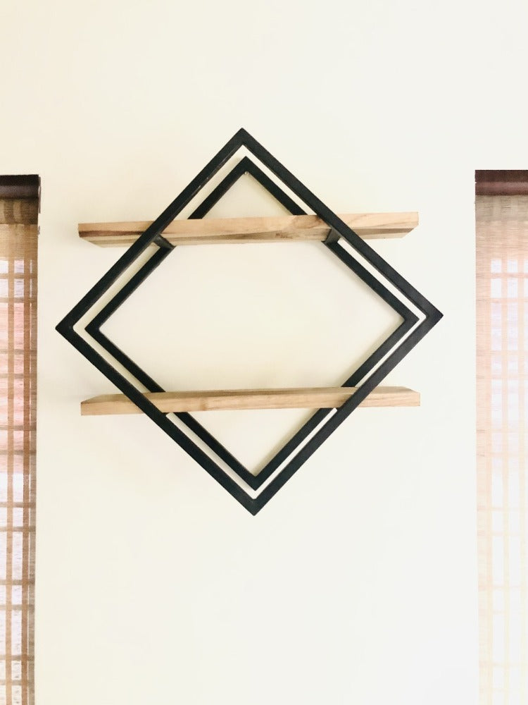 Custom Diamond Shelf With Double Wood Plank