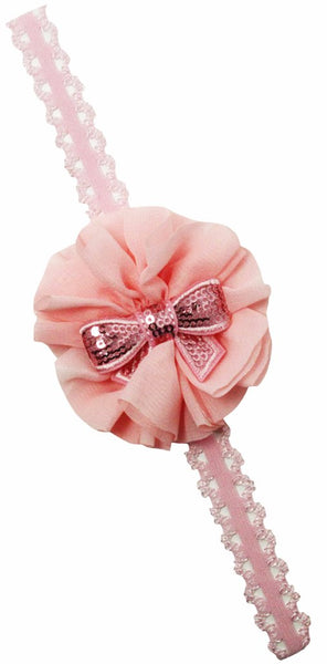 Pink Lace Headband With Bow Center and Pink Chiffon Flower