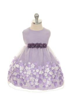 Lavender Mesh Dress with Taffeta Flowers