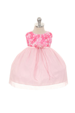 Pink 3D Chiffon Flower Mesh Dress