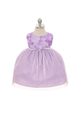 Lavender 3D Chiffon Flower Mesh Dress