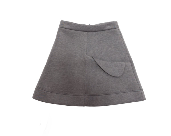 Gray Scuba Flap Pocket Skirt