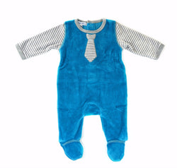 Teal Velour Footie with Tie