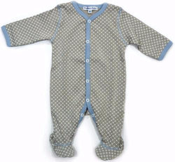 Gray Dot Footie with Blue Edge