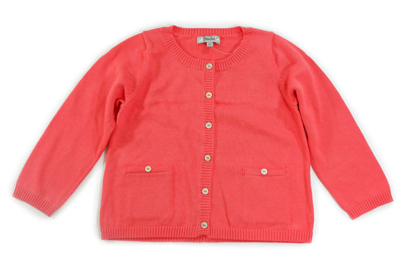 Orange Cardigan with Button Pockets