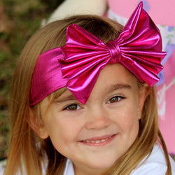 Hot Pink Metallic Fabric Jersey Bow Headband