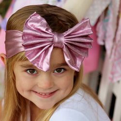 Pink Metallic Fabric Jersey Bow Headband