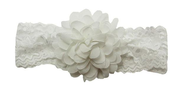 White Chiffon Lace Headband