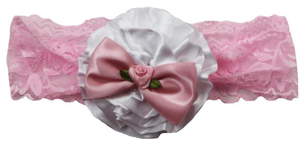 White Satin Flower With Pink Satin Bow On Pink Lace Headband