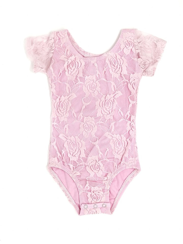 PINK LACE | CAP SLEEVE LEOTARD - SIZE UP