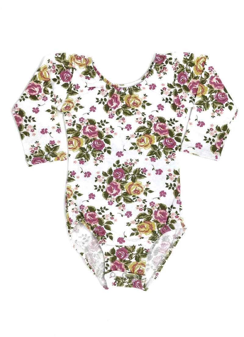 WHITE FLORAL | LONG SLEEVE LEOTARD