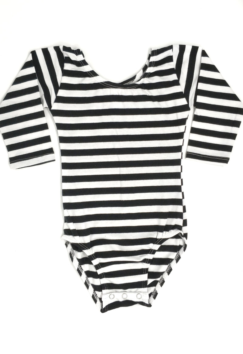 BLACK & WHITE STRIPES | LONG SLEEVE LEOTARD
