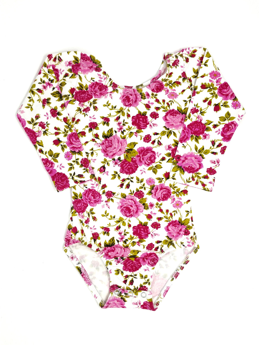 HOT PINK FLORAL ON WHITE | LONG SLEEVE LEOTARD