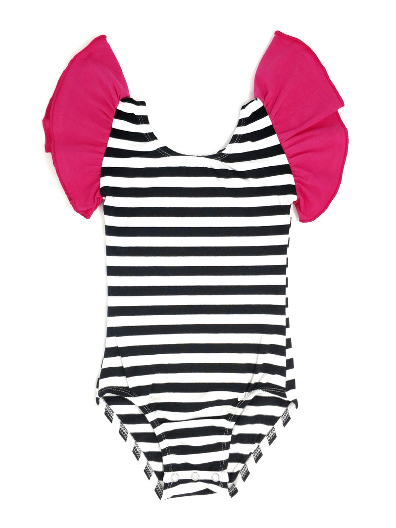 HOT PINK BLACK STRIPES | FLUTTER SLEEVE LEOTARD
