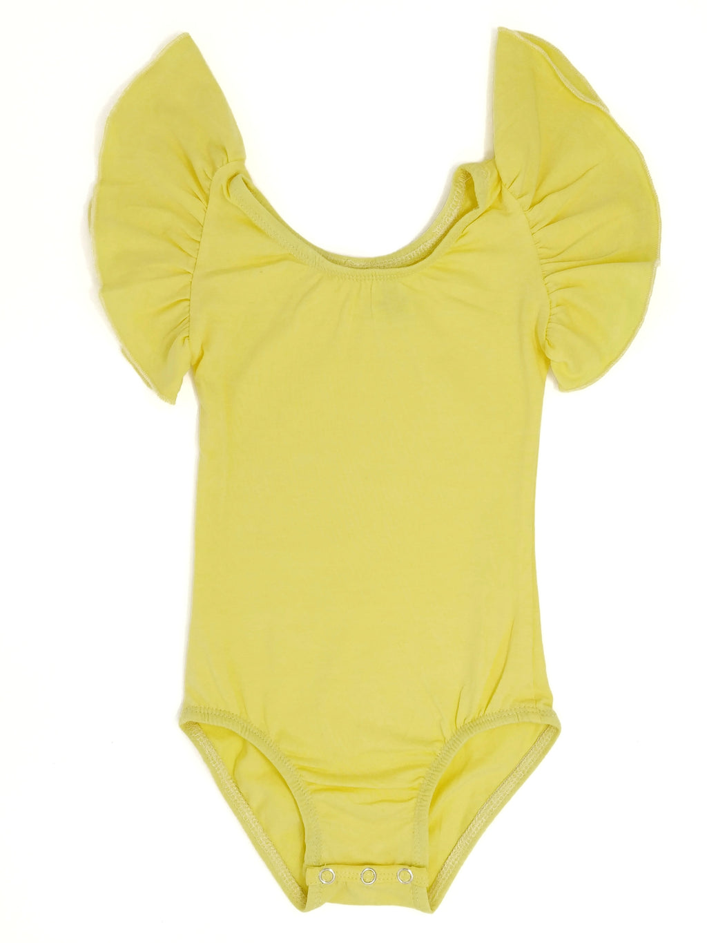 LIGHT YELLOW | FLUTTER SLEEVE LEOTARD