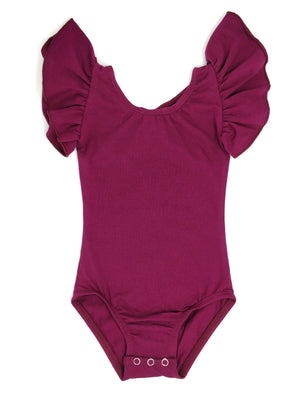 WINE | FLUTTER SLEEVE LEOTARD