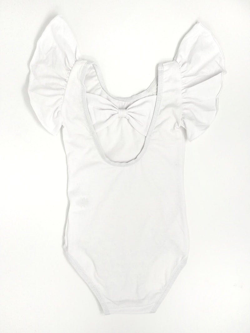 WHITE | BOW BACK FLUTTER SLEEVE LEOTARD