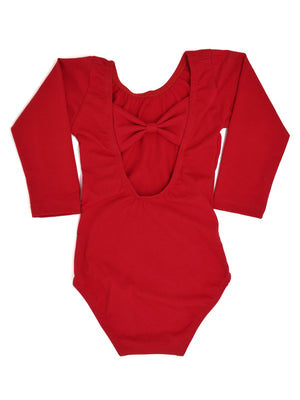 RED | BOW BACK LONG SLEEVE LEOTARD