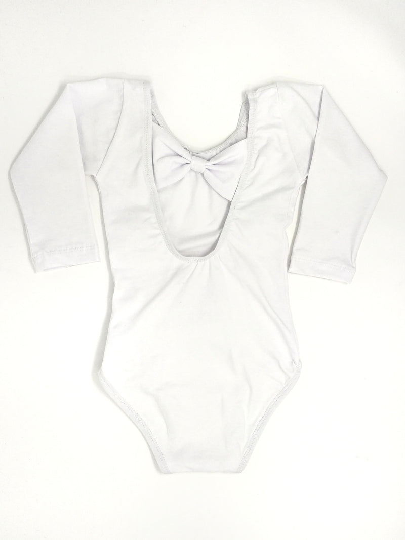 WHITE | BOW BACK LONG SLEEVE LEOTARD