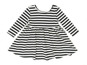 BLACK & WHITE STRIPES | TWIRL DRESS