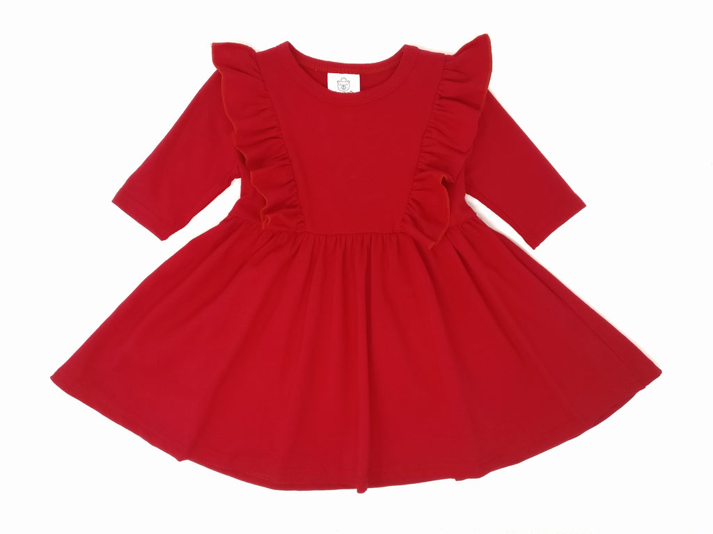 CRIMSON RED | TWIRL DRESS WITH RUFFLES