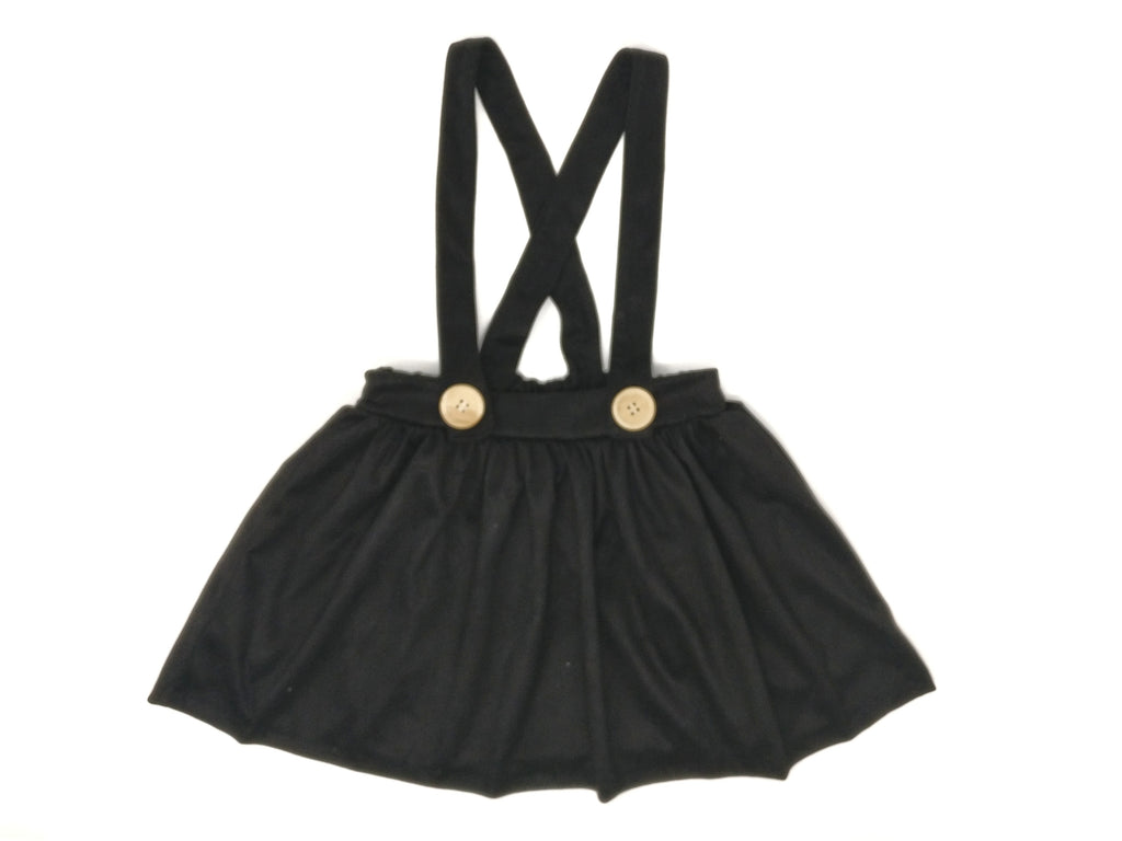 BLACK FAUX SUEDE | SUSPENDER SKIRT