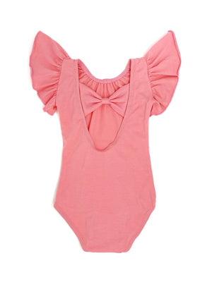 CORAL PINK | BOW BACK FLUTTER SLEEVE LEOTARD