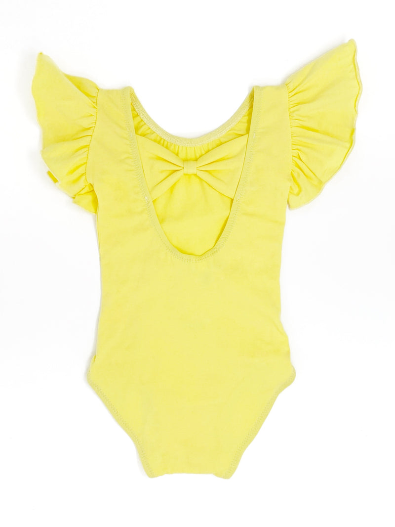 LIGHT YELLOW | BOW BACK FLUTTER SLEEVE LEOTARD