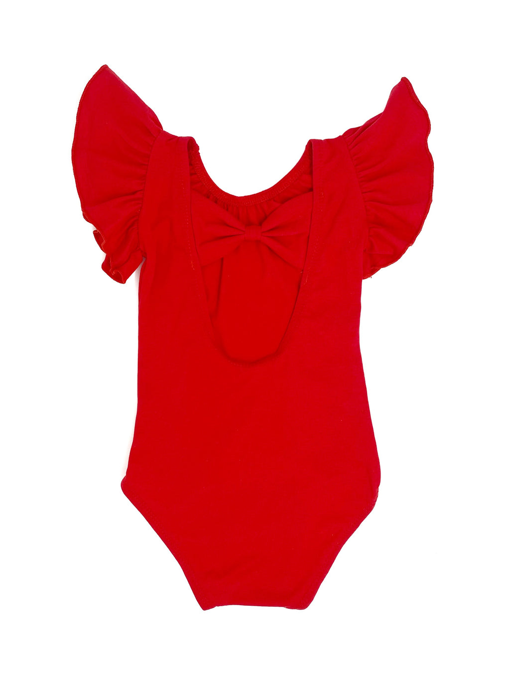 RED | BOW BACK FLUTTER SLEEVE LEOTARD