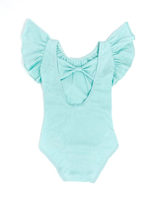 MINT | BOW BACK FLUTTER SLEEVE LEOTARD