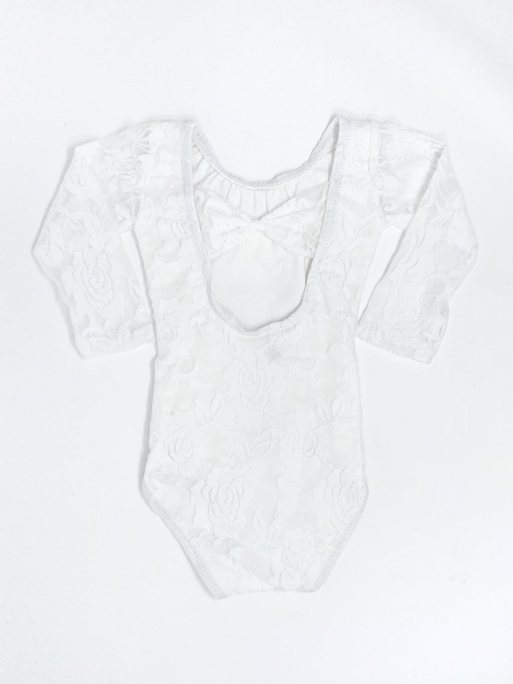 OFF WHITE LACE | BOW BACK LONG SLEEVE LEOTARD - SIZE UP