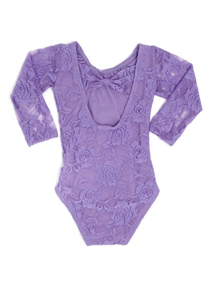 LAVENDER LACE | BOW BACK LONG SLEEVE LEOTARD - SIZE UP