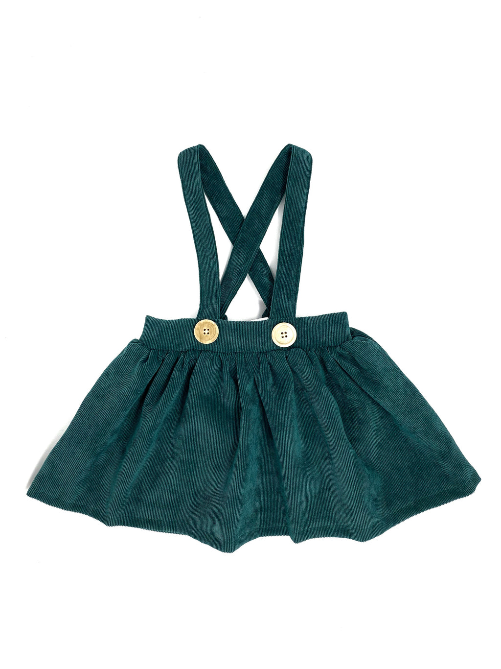 DARK GREEN CORDUROY | SUSPENDER SKIRT