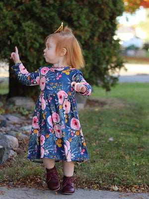 DARK WATERCOLOR FLORAL | TWIRL DRESS