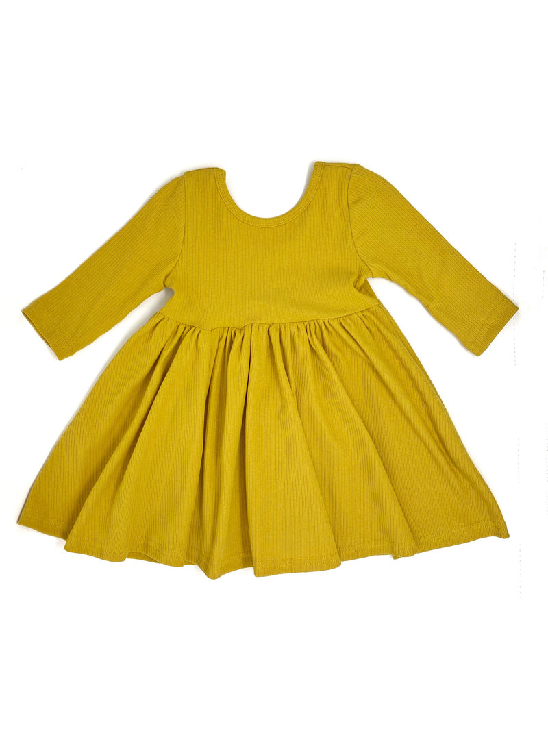 DARK YELLOW | RIBBED KNIT TWIRL DRESS